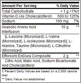 BSN - Amino X nutrition panel