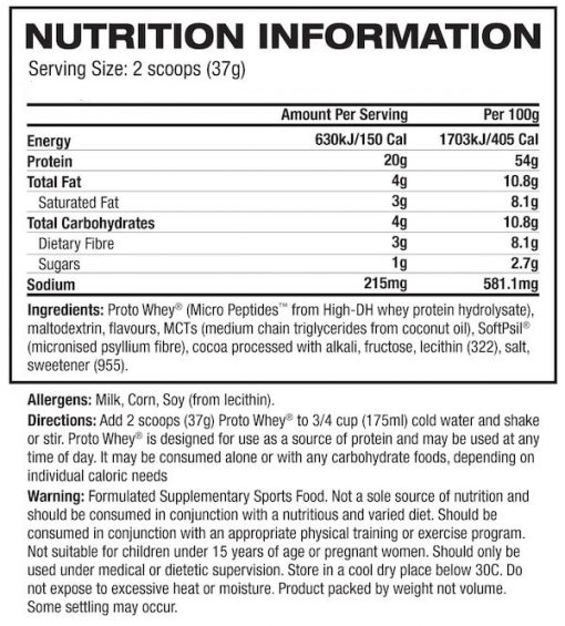 BNRG-Proto-Whey-Protein-nutrition panel