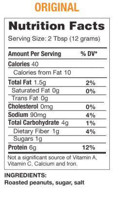 PB2 - Powdered Peanut Butter nutrition panel