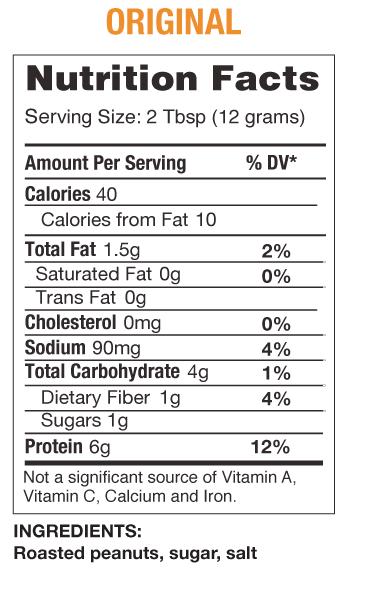 PB2 - Powdered Peanut Butter nutrition panel
