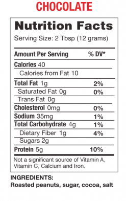 PB2 - Powdered Peanut Butter - Chocolate nutrition panel