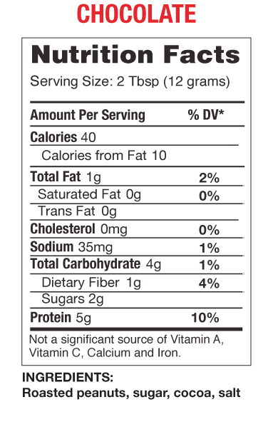 PB2 - Powdered Peanut Butter - Chocolate nutrition panel