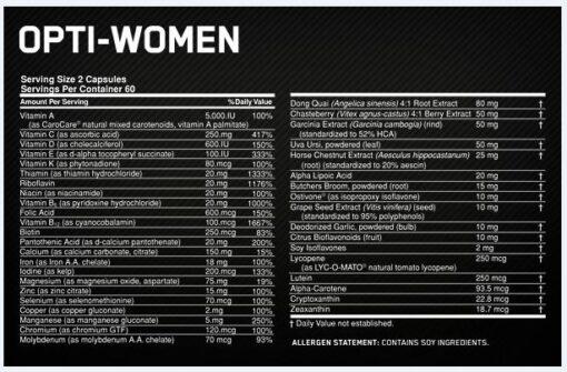 Optimum - Opti-women 120caps nutrition panel
