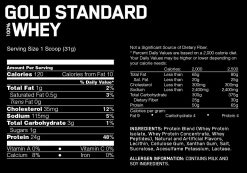 Optimum - Gold Standard whey nutrition panel