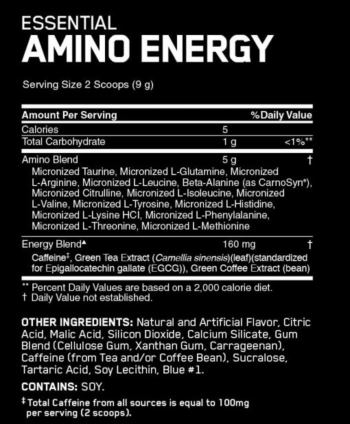 Optimum - Amino Energy nutrition panel