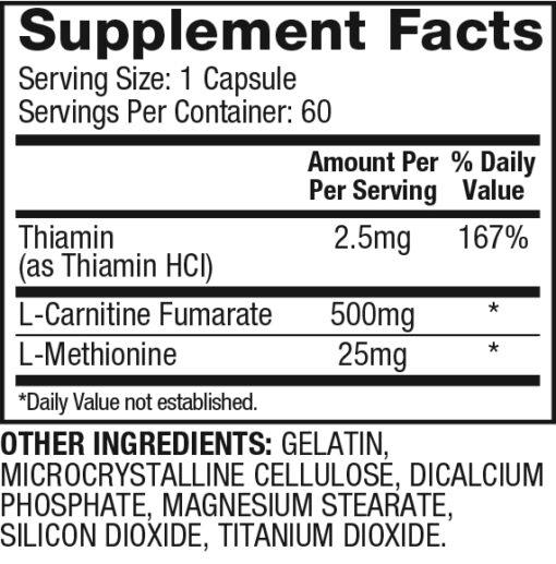 Dymatize - L-Carnitine Xtreme nutrition panel