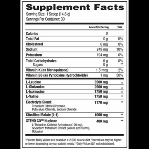 Scivation - Xtend GO nutrition panel