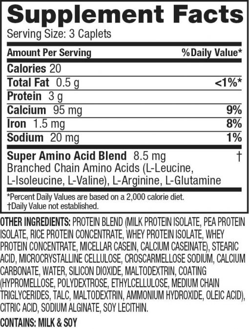 Dymatize - Super Amino 6000 nutrition panel