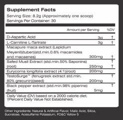 MTS - Barracuda - 30 servings nutrition panel