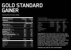 Optimum - Gold Standard Gainer nutrition panel