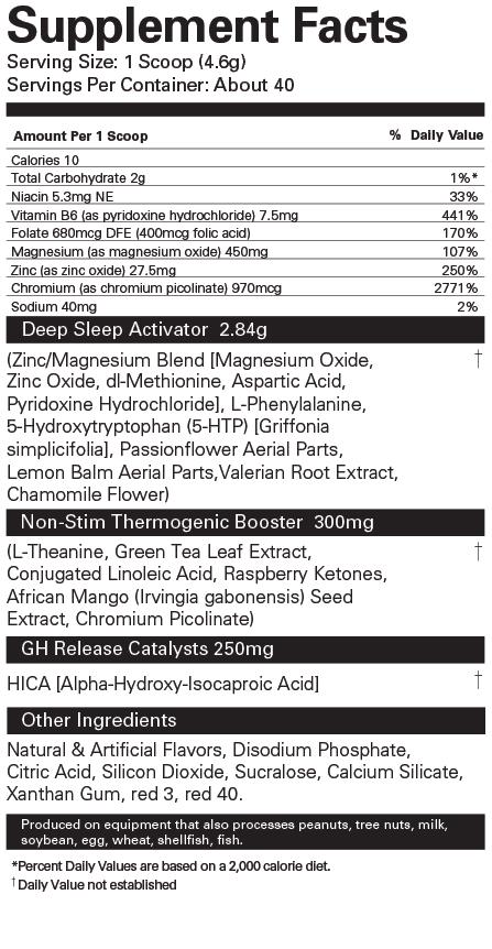 EHP Labs - OxySleep 40 Servings Nutrition