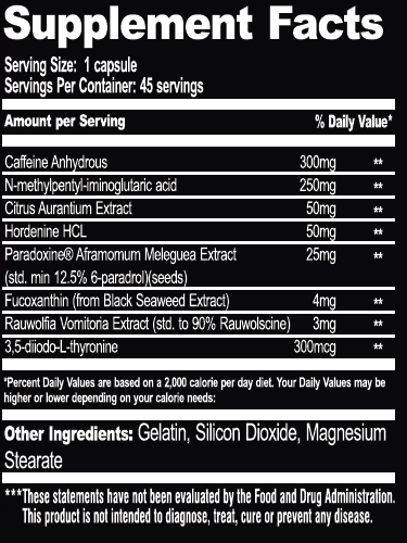 Killer Labz - Exterminator 50 servings nutrition panel