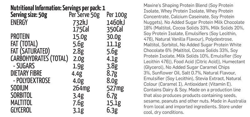 Maxs - Maxines Yumm Bar 50g - Box of 12 Nutritional Panel