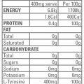 GEN-TEC – Tyrosine 150g – Nutritional Panel