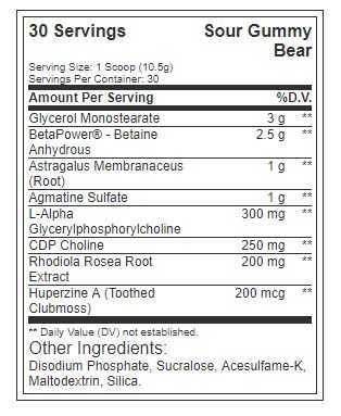 redcon1 big noise 30 serves sour gummy bear nutritional panel