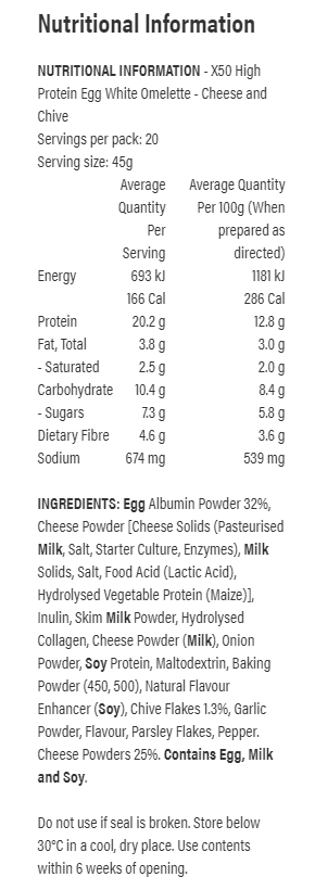 tribecca x50 omelette nutritional panel