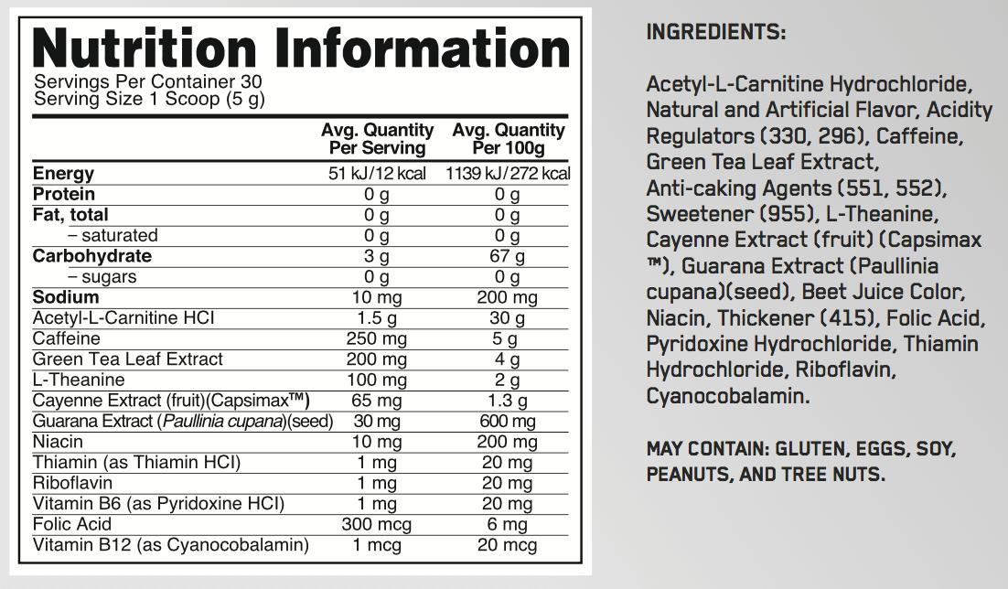 optimum nutrition burn complex stim nutrition panel