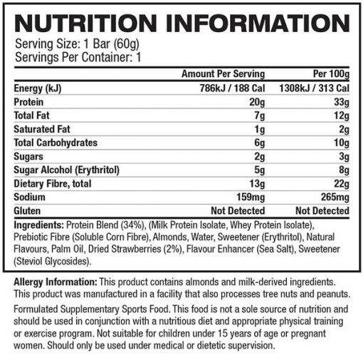 Quest Nutrition - Quest Bar nutrition panel