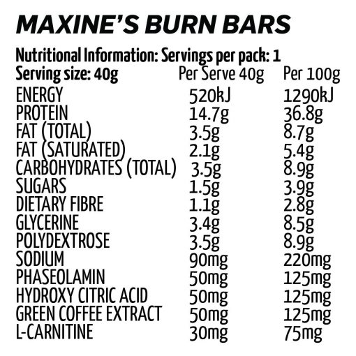 Maxines - Burn Bar 40g nutrition panel