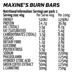 Maxines burn bars nutritional information