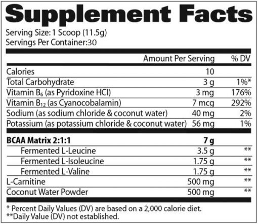 GAT - Flexx BCAAs - 30 servings nutrition panel