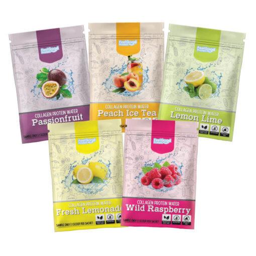 Fresh Lemonade, Wild raspberry, Peach Ice Tea, Passionfruit, Lemon Lime flavour Feel Good Protein Water Sample satchels