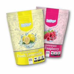 Fresh Lemonade and Wild Raspberry flavour of Feel Good Protein Water 40 scoops
