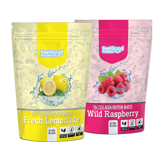 Feel Good Protein Water 40 scoops in Fresh Lemonade and Raspberry flavour