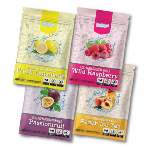 Fresh Lemonade, Wild raspberry, Peach Ice Tea, Passionfruit flavour Feel Good Protein Water Sample satchels