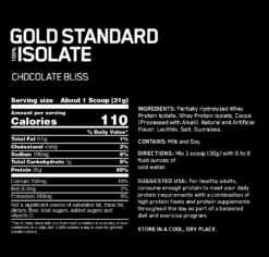 Gold Standard Isolate by Optimum Nutrition - Nutritional Panel