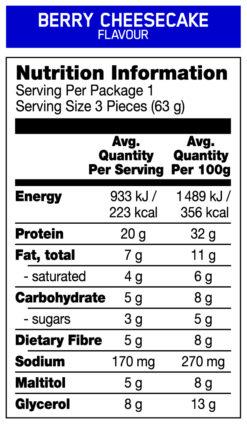 ON cake bites nutrition panel