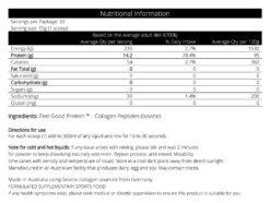 Tasteless Protein Collagen 500g Nutritional Panel