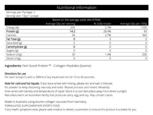 Tasteless Protein 15g - Nutritional Panel