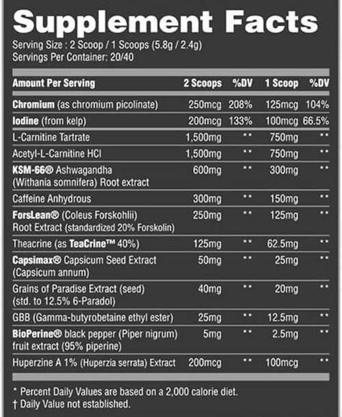 Ultra Stim Burner by Darkside Nutritional Panel