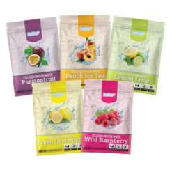 Fresh Lemonade, Wild raspberry, Peach Ice Tea, Passionfruit, Lemon Lime flavour Feel Good Protein Water Sample satchels