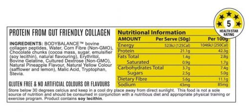 Noway Mallow Bar Mallow Pineapple Chump Choc Nutritional Information by ATP Science