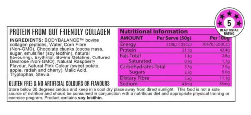 Noway Mallow Bar Berry Attack Choc Chip Nutritional Information by ATP Science