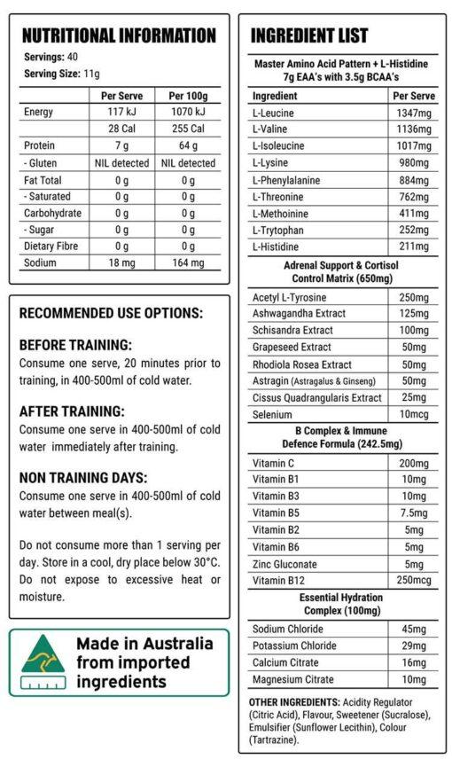 Faction labs core 9 eaa nutritional panel