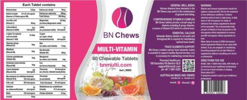BN Multi Chewable label
